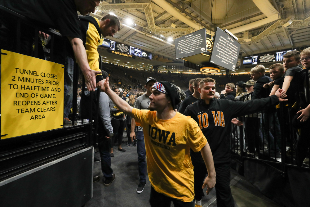 Iowa's Spencer Lee following senior day activities Sunday, February 23, 2020 at Carver-Hawkeye Arena. (Brian Ray/hawkeyesports.com)