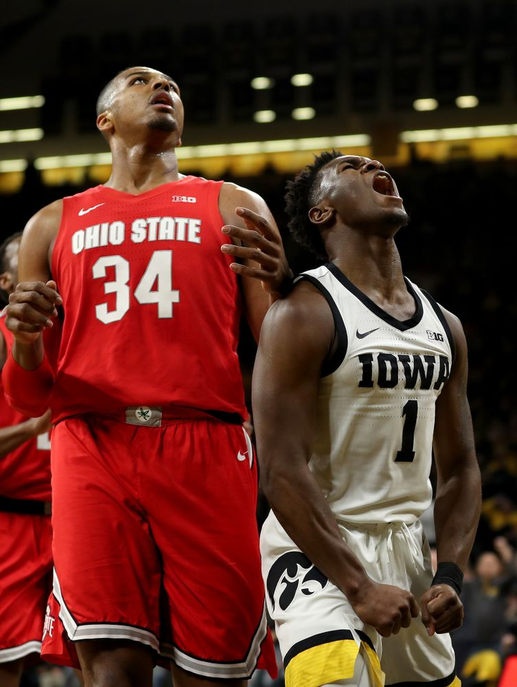 Iowa Hawkeyes guard Joe Toussaint (1) against the Ohio State Buckeyes Thursday, February 20, 2020 at Carver-Hawkeye Arena. (Brian Ray/hawkeyesports.com)