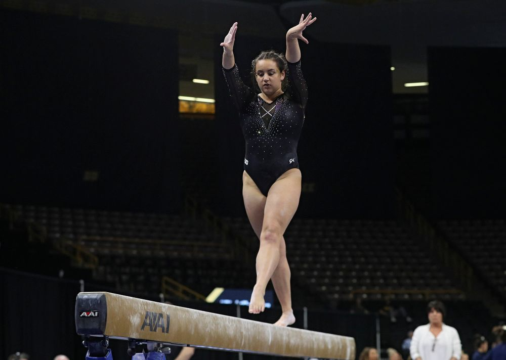 Iowa's Daniela Castillo competes on the beam during their meet at Carver-Hawkeye Arena in Iowa City on Sunday, March 8, 2020. (Stephen Mally/hawkeyesports.com)