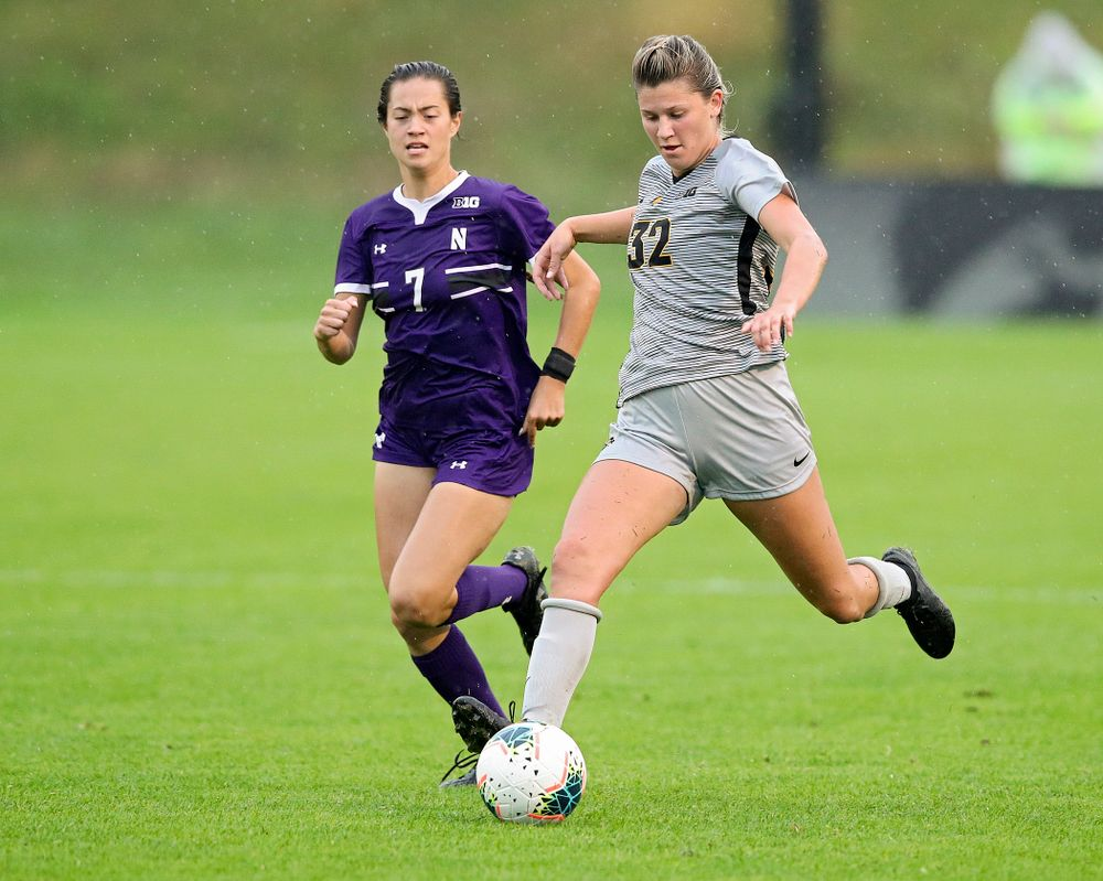 Iowa forward Gianna Gourley (32) passes the ball during the second half of their match at the Iowa Soccer Complex in Iowa City on Sunday, Sep 29, 2019. (Stephen Mally/hawkeyesports.com)