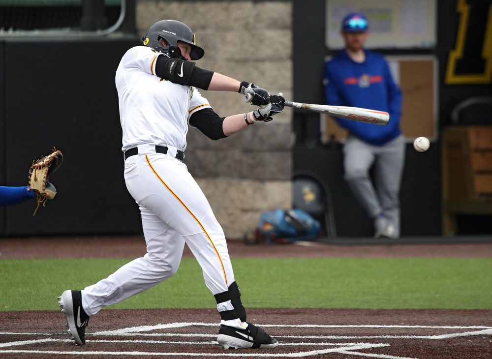Iowa right fielder Zeb Adreon (5) drives in a run with a hit during the first inning of their college baseball game at Duane Banks Field in Iowa City on Wednesday, March 11, 2020. (Stephen Mally/hawkeyesports.com)