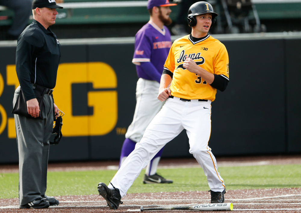 Iowa Hawkeyes outfielder Kace Massner (37) scores the go-ahead run in the eighth inning during a game against Evansville at Duane Banks Field on March 18, 2018. (Tork Mason/hawkeyesports.com)