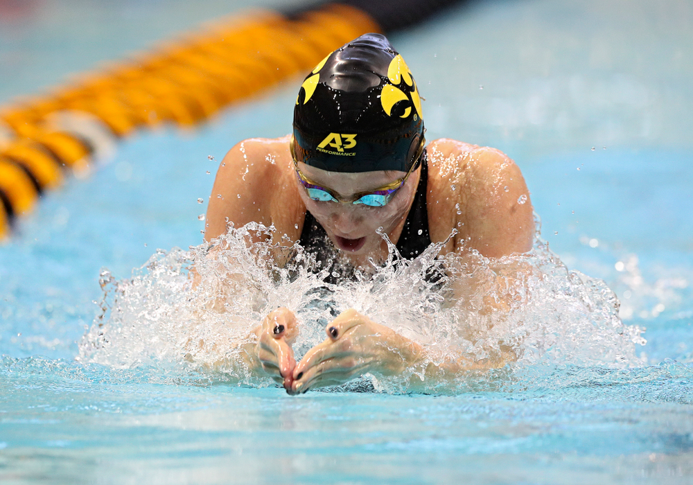 Iowa's Aleksandra Olesiak swims the women's 100 yard breaststroke preliminary event during the 2020 Women's Big Ten Swimming and Diving Championships at the Campus Recreation and Wellness Center in Iowa City on Friday, February 21, 2020. (Stephen Mally/hawkeyesports.com)