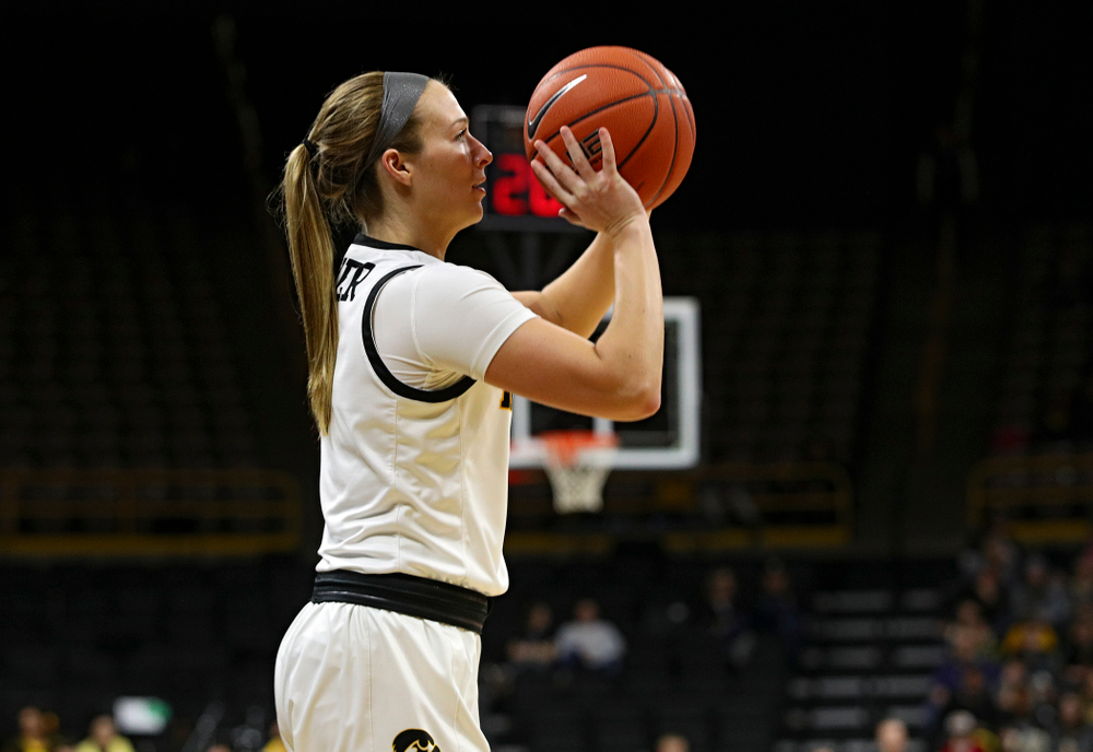 Iowa Hawkeyes guard Makenzie Meyer (3) lines up a basket during the third quarter of their game at Carver-Hawkeye Arena in Iowa City on Tuesday, December 31, 2019. (Stephen Mally/hawkeyesports.com)