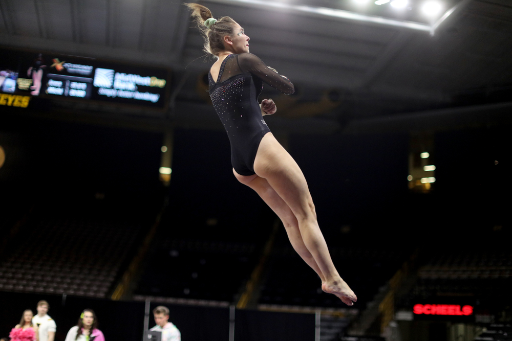 Iowa's Bridget Killian competes on the vault against Michigan Friday, February 14, 2020 at Carver-Hawkeye Arena. (Brian Ray/hawkeyesports.com)