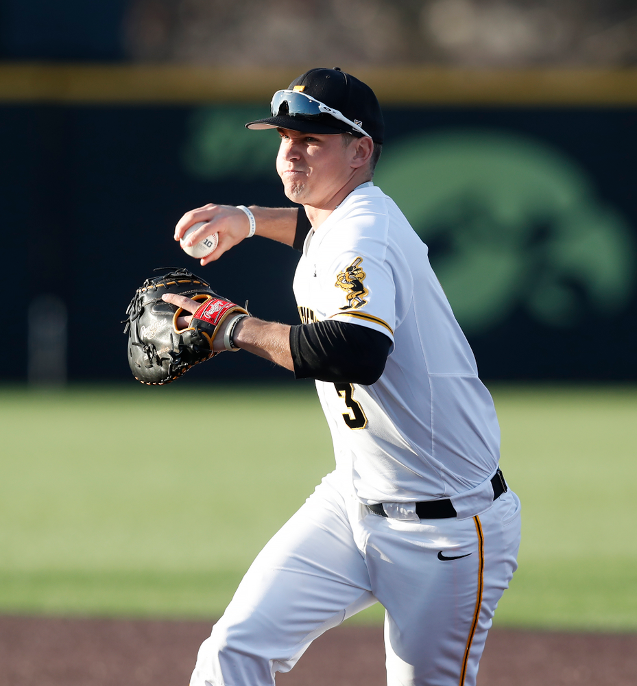 Iowa Hawkeyes infielder Matt Hoeg (3) against Northern Illinois Tuesday, April 17, 2018 at Duane Banks Field. (Brian Ray/hawkeyesports.com)