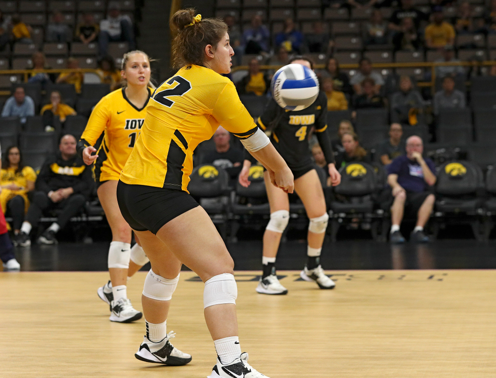 Iowa's Emily Bushman (12) eyes the ball during their match at Carver-Hawkeye Arena in Iowa City on Sunday, Oct 20, 2019. (Stephen Mally/hawkeyesports.com)