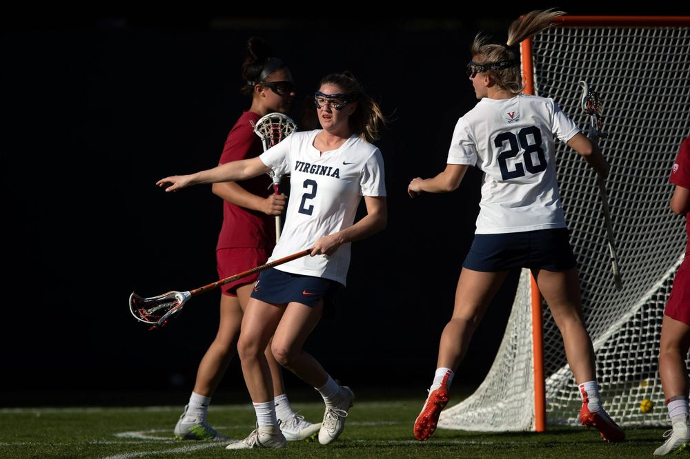 STANFORD, California - FEBRUARY 14:  Virginia Cavaliers midfield Sammy Mueller (2) scores a goal against the Stanford Cardinal during the first half at Cagan Stadium on February 14, 2020 in Stanford, California. The Virginia Cavaliers defeated the Stanford Cardinal 12-11. (Photo by Jason O. Watson)