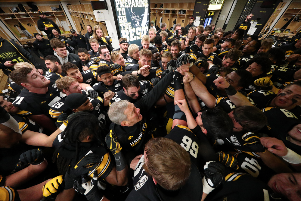 Iowa Hawkeyes head coach Kirk Ferentz gets emotional as he talks to the team following their win over the Minnesota Golden Gophers Saturday, November 16, 2019 at Kinnick Stadium. (Brian Ray/hawkeyesports.com)