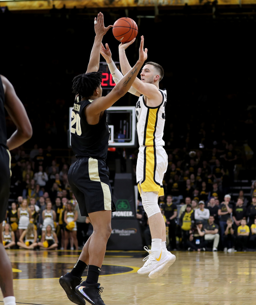 Iowa Hawkeyes guard Connor McCaffery (30) against the Purdue Boilermakers Tuesday, March 3, 2020 at Carver-Hawkeye Arena. (Brian Ray/hawkeyesports.com)