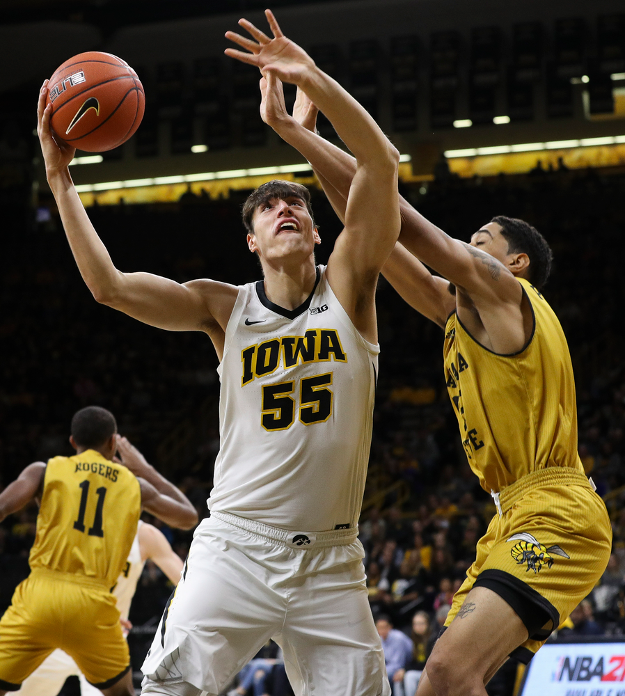 Iowa Hawkeyes forward Luka Garza (55) goes up for a layup during a game against Alabama State at Carver-Hawkeye Arena on November 21, 2018. (Tork Mason/hawkeyesports.com)