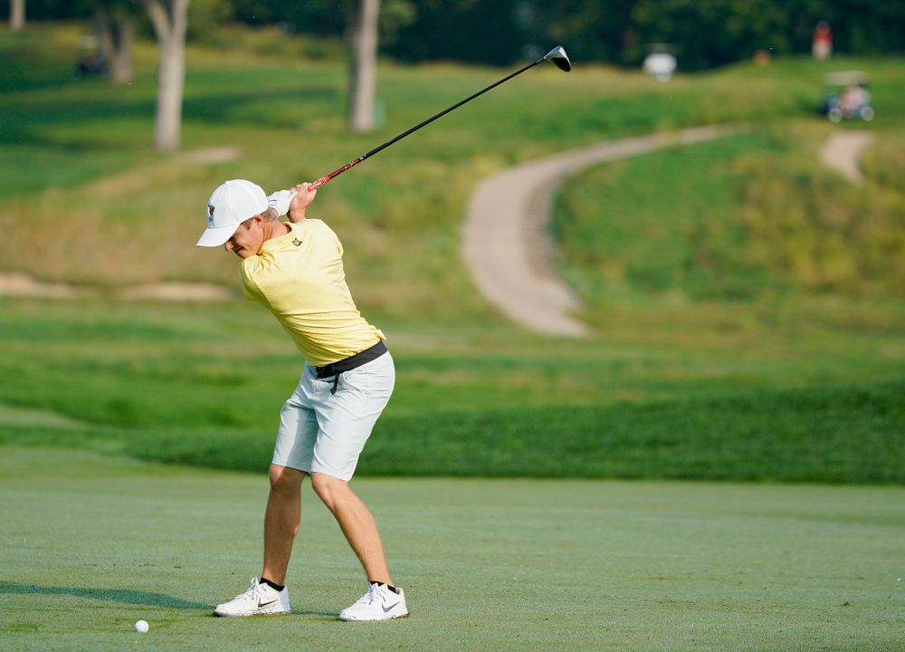 Iowa's Matthew Garside hits from the fairway during the third day of the Golfweek Conference Challenge at the Cedar Rapids Country Club in Cedar Rapids on Tuesday, Sep 17, 2019. (Stephen Mally/hawkeyesports.com)