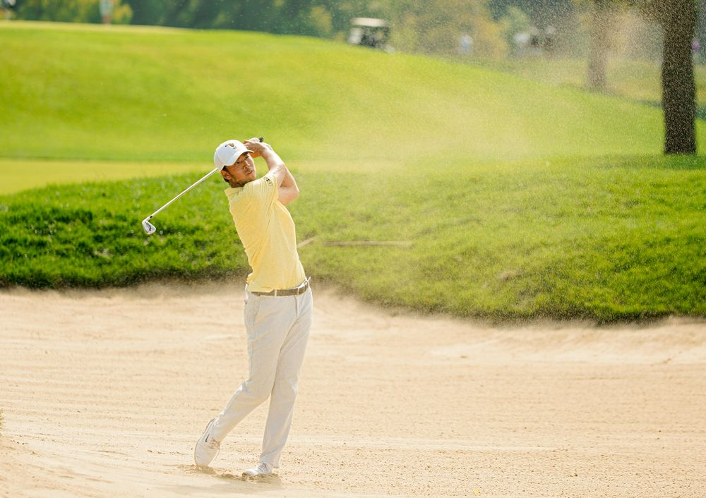 Iowa's Joe Kim hits from a sand trap during the third day of the Golfweek Conference Challenge at the Cedar Rapids Country Club in Cedar Rapids on Tuesday, Sep 17, 2019. (Stephen Mally/hawkeyesports.com)