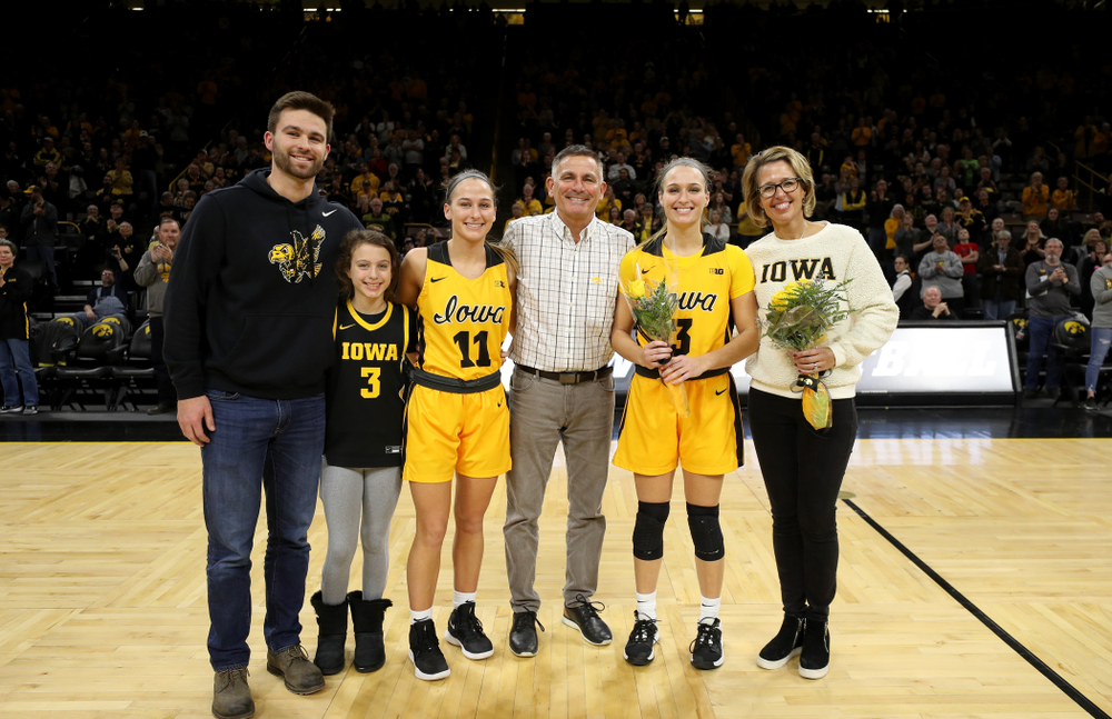 Iowa Hawkeyes guard Makenzie Meyer (3) during senior day activities following their win over the Minnesota Golden Gophers Thursday, February 27, 2020 at Carver-Hawkeye Arena. (Brian Ray/hawkeyesports.com)
