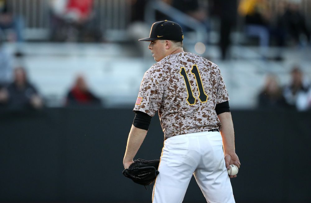 Iowa Hawkeyes Cole McDonald (11) against the Nebraska Cornhuskers on Military Appreciation Night Friday, April 19, 2019 at Duane Banks Field. (Brian Ray/hawkeyesports.com)