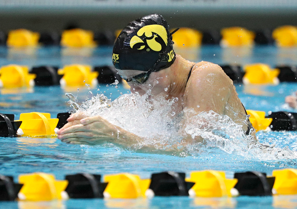 Iowa's Aleksandra Olesiak swims the women's 100-yard breaststroke event during their meet against Michigan State and Northern Iowa at the Campus Recreation and Wellness Center in Iowa City on Friday, Oct 4, 2019. (Stephen Mally/hawkeyesports.com)