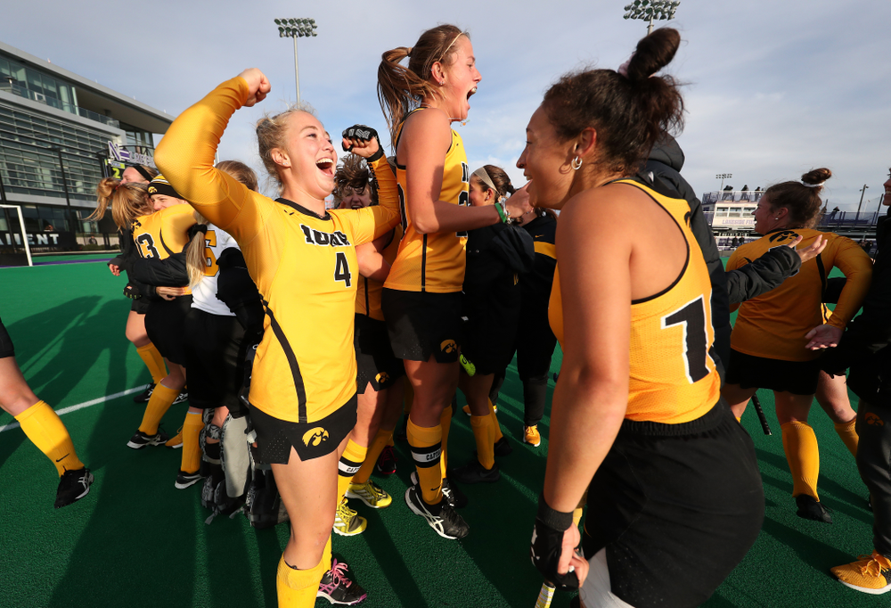 Iowa Hawkeyes Makenna Grewe (4), Sophie Sunderland (20), and Mya Christopher (18) celebrate their 2-1 victory over the Michigan Wolverines in the semi-finals of the Big Ten Tournament Friday, November 2, 2018 at Lakeside Field on the campus of Northwestern University in Evanston, Ill. (Brian Ray/hawkeyesports.com)
