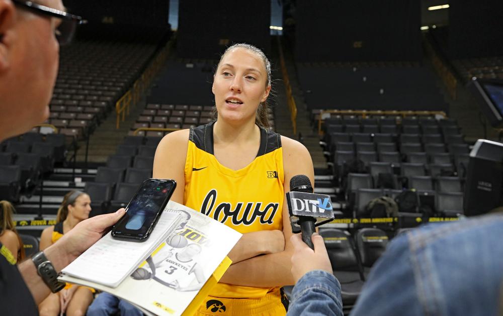 Iowa forward Amanda Ollinger (43) answers questions during Iowa Women's Basketball Media Day at Carver-Hawkeye Arena in Iowa City on Thursday, Oct 24, 2019. (Stephen Mally/hawkeyesports.com)