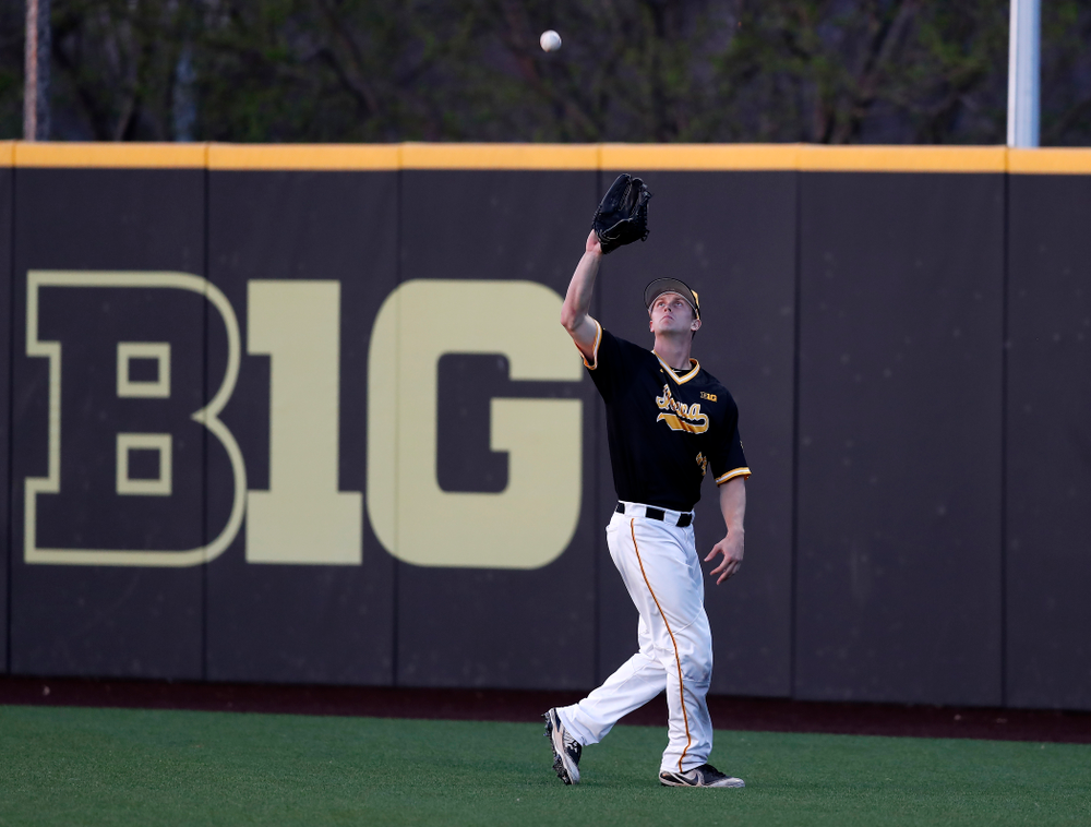 Iowa Hawkeyes outfielder Robert Neustrom (44) against Milwaukee Wednesday, April 25, 2018 at Duane Banks Field. (Brian Ray/hawkeyesports.com)