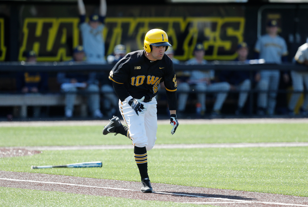 Iowa Hawkeyes outfielder Justin Jenkins (6) against Michigan Saturday, April 28, 2018 at Duane Banks Field (Brian Ray/hawkeyesports.com)