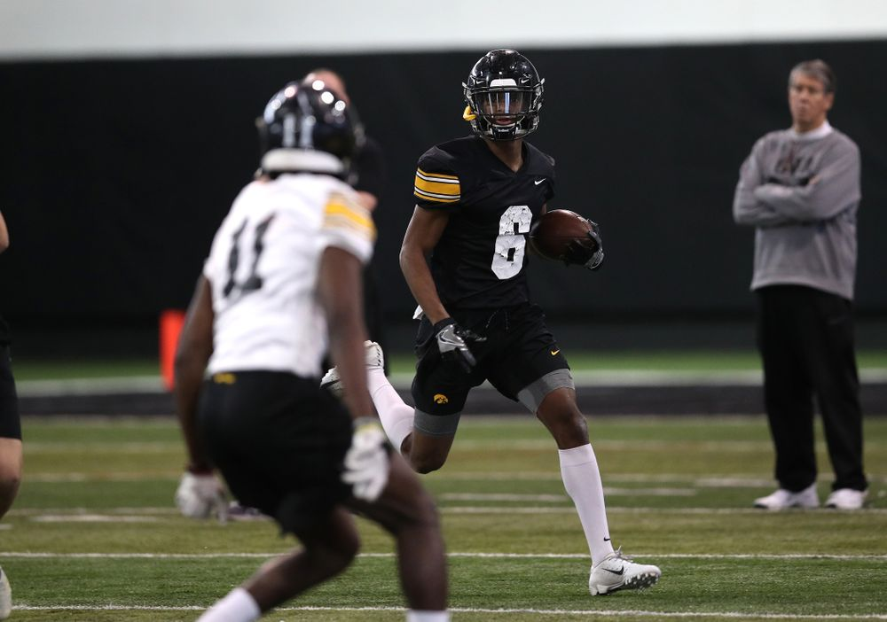 Iowa Hawkeyes wide receiver Ihmir Smith-Marsette (6) during preparation for the 2019 Outback Bowl Tuesday, December 18, 2018 at the Hansen Football Performance Center. (Brian Ray/hawkeyesports.com)