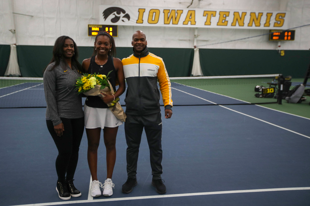 IowaÕs Adorabol Huckleby at womenÕs tennis senior day vs Nebraska on Saturday, April 13, 2019 at the Hawkeye Tennis and Recreation Complex. (Lily Smith/hawkeyesports.com)