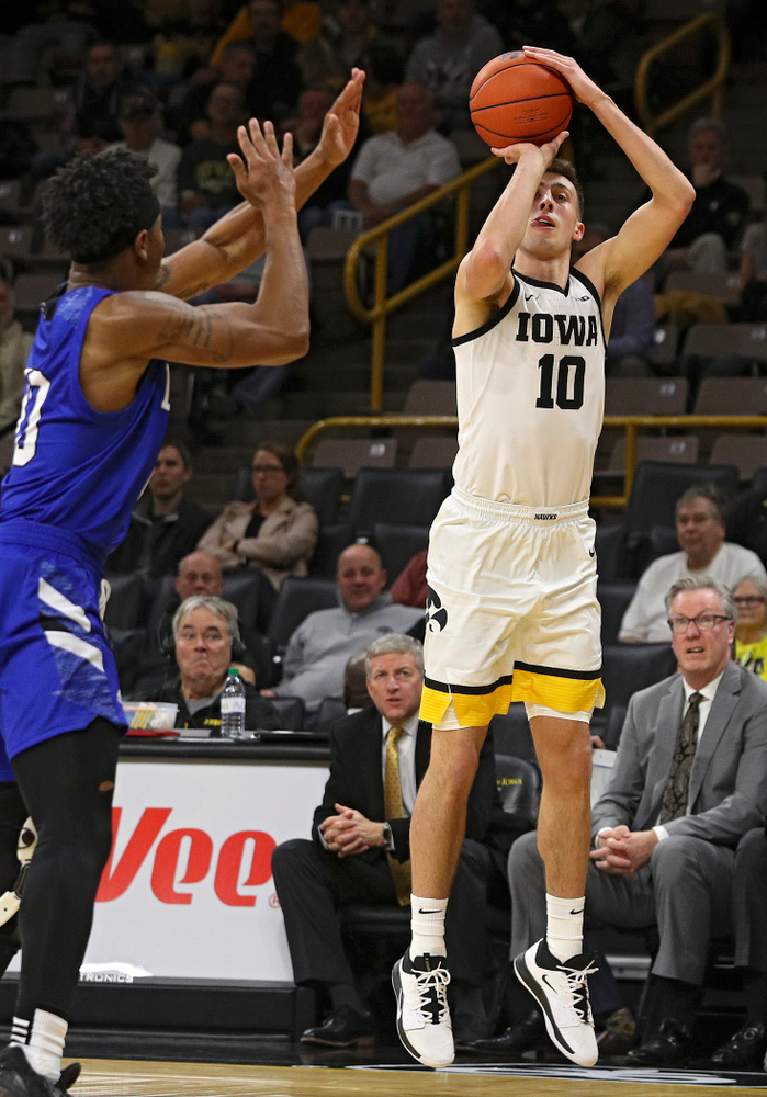 Iowa Hawkeyes guard Joe Wieskamp (10) makes a 3-pointer during the second half of their exhibition game against Lindsey Wilson College at Carver-Hawkeye Arena in Iowa City on Monday, Nov 4, 2019. (Stephen Mally/hawkeyesports.com)
