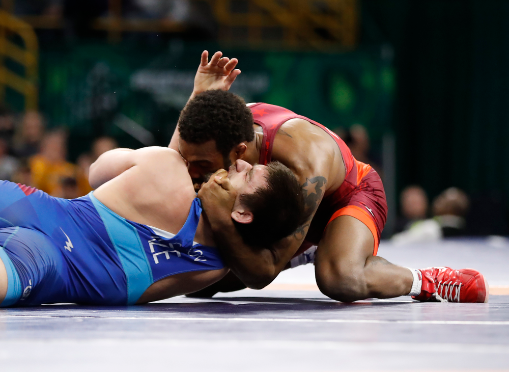 Jordan Burroughs during the gold medal match of the United World Wrestling Freestyle World Cup against Azerbaijan Sunday, April 8, 2018 at Carver-Hawkeye Arena. (Brian Ray/hawkeyesports.com)