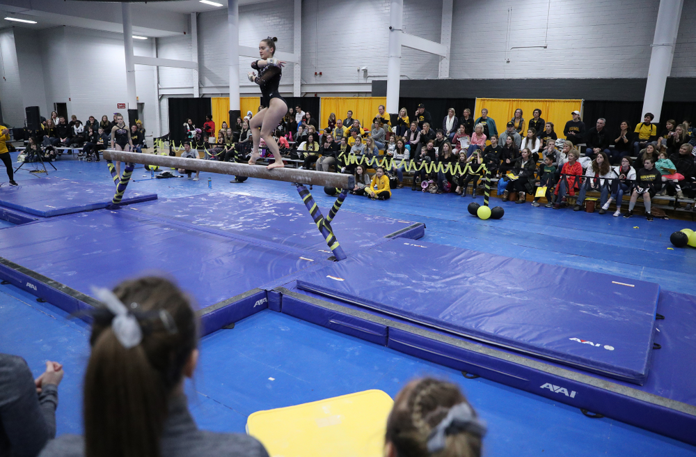 Allie Gilchrist competes on the beam during the Black and Gold intrasquad meet Saturday, December 1, 2018 at the University of Iowa Field House. (Brian Ray/hawkeyesports.com)
