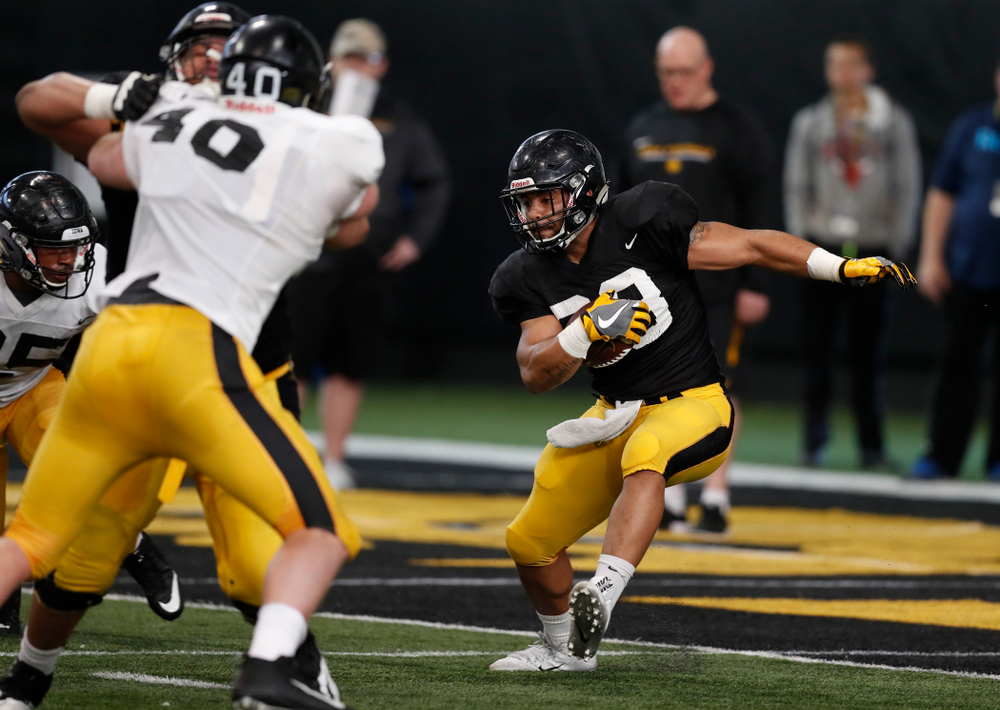 Iowa Hawkeyes running back Toren Young (28) during spring practice Wednesday, March 28, 2018 at the Hansen Football Performance Center.  (Brian Ray/hawkeyesports.com)