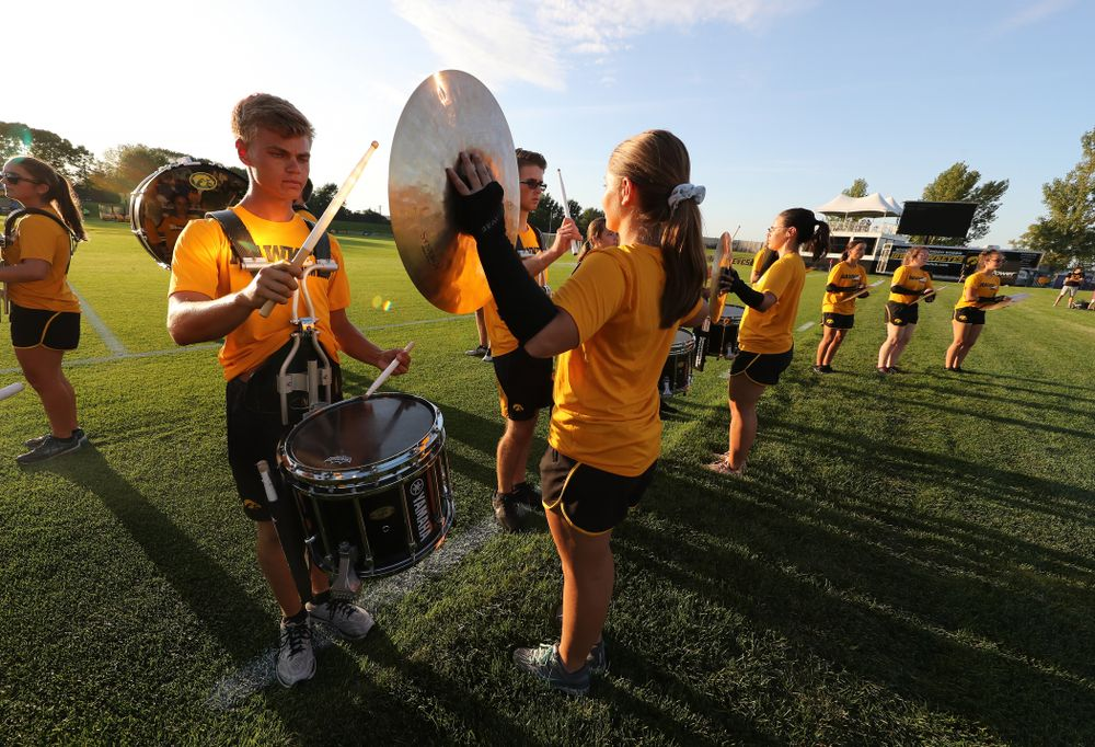 The Hawkeye Marching Band drum line performs before the Hawkeyes 2-1 victory over the Iowa State Cyclones Thursday, August 29, 2019 in the Iowa Corn Cy-Hawk series at the Iowa Soccer Complex. (Brian Ray/hawkeyesports.com)