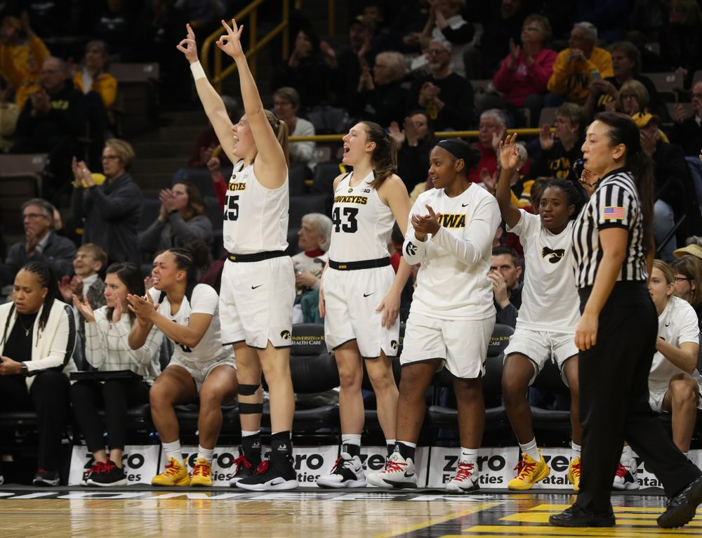Iowa Hawkeyes forward/center Monika Czinano (25) reacts to a three point basket by guard Makenzie Meyer (3) against the Purdue Boilermakers Sunday, January 27, 2019 at Carver-Hawkeye Arena. (Brian Ray/hawkeyesports.com)