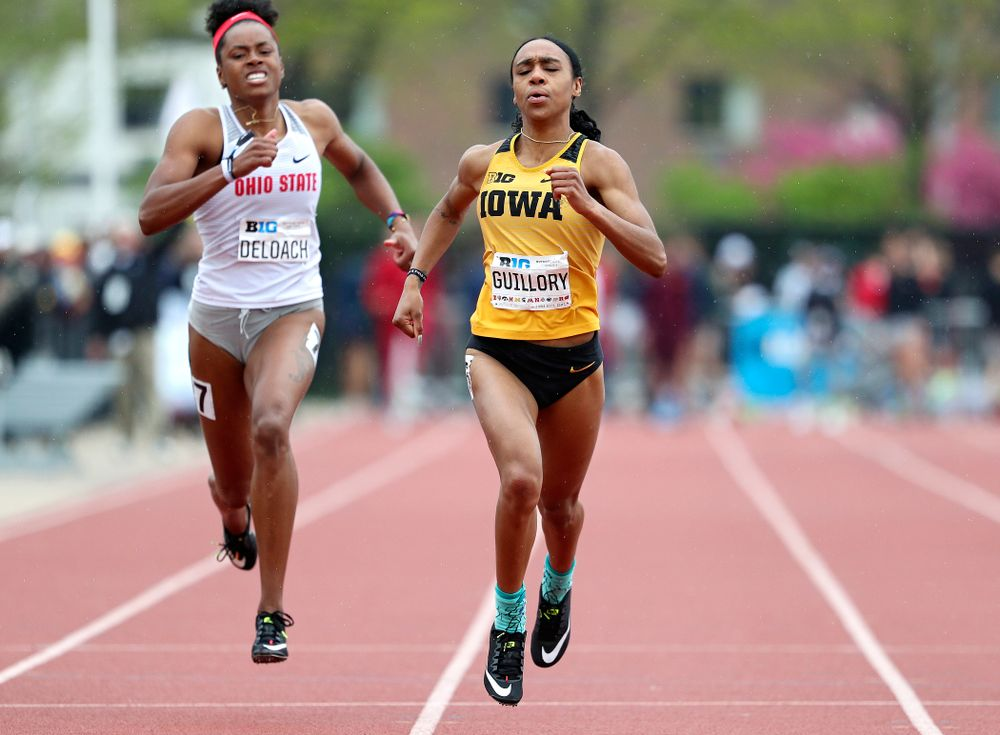 Iowa's Briana Guillory runs the women's 200 meter dash event on the third day of the Big Ten Outdoor Track and Field Championships at Francis X. Cretzmeyer Track in Iowa City on Sunday, May. 12, 2019. (Stephen Mally/hawkeyesports.com)