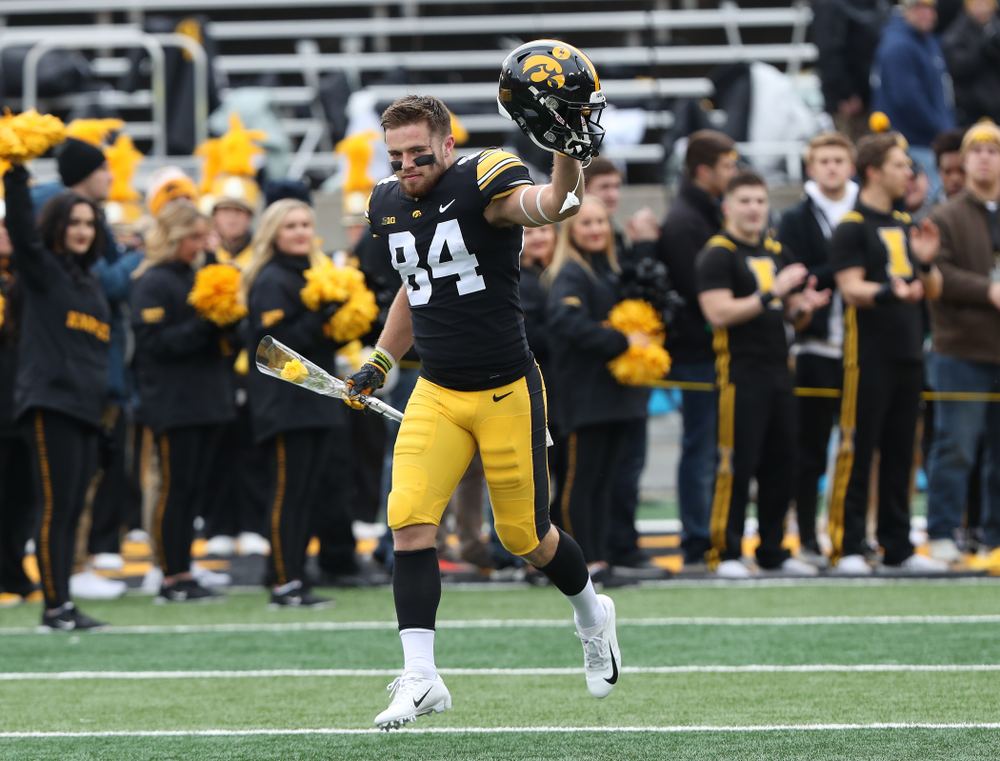 Iowa Hawkeyes wide receiver Nick Easley (84) during senior day activities before their game against the Nebraska Cornhuskers Friday, November 23, 2018 at Kinnick Stadium. (Brian Ray/hawkeyesports.com)