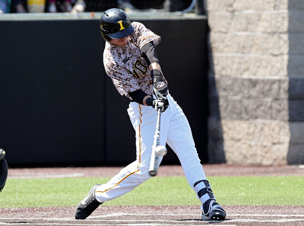 Iowa Hawkeyes shortstop Tanner Wetrich (16) bats during the second inning of their game against UC Irvine at Duane Banks Field in Iowa City on Sunday, May. 5, 2019. (Stephen Mally/hawkeyesports.com)