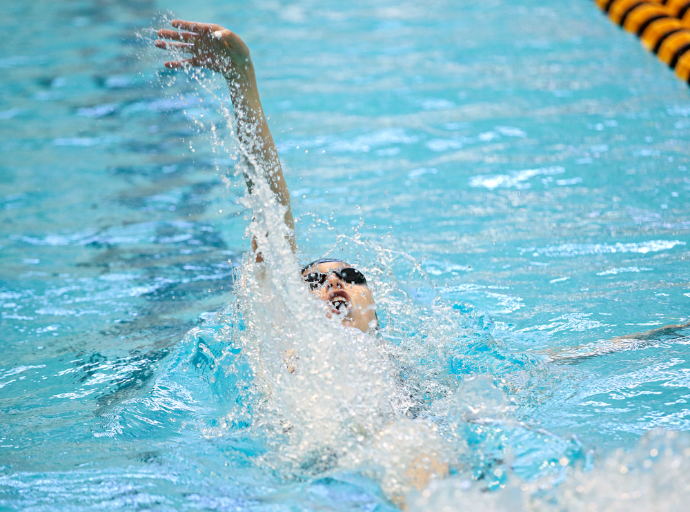Iowa's Samantha Sauer swims the women's 100 yard backstroke preliminary event during the 2020 Women's Big Ten Swimming and Diving Championships at the Campus Recreation and Wellness Center in Iowa City on Friday, February 21, 2020. (Stephen Mally/hawkeyesports.com)