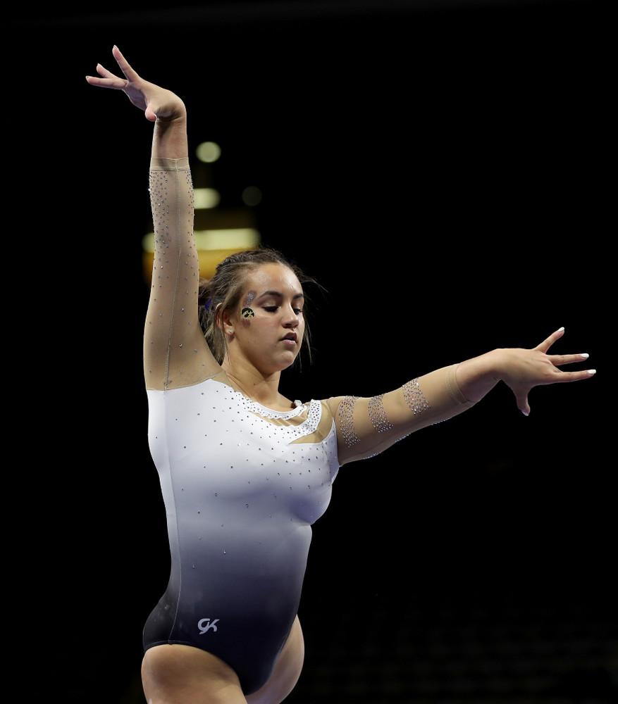 IowaÕs Dani Castillo competes on the beam against Ball State and Air Force Saturday, January 11, 2020 at Carver-Hawkeye Arena. (Brian Ray/hawkeyesports.com)