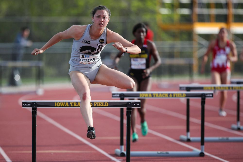 Iowa's Jenny Kimbro hurdles during the women's 400-meter hurdles at the Big Ten Outdoor Track and Field Championships at Francis X. Cretzmeyer Track on Friday, May 10, 2019. (Lily Smith/hawkeyesports.com)