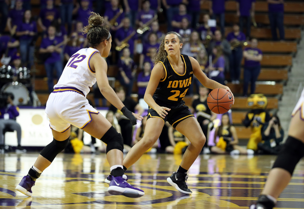 Iowa Hawkeyes guard Gabbie Marshall (24) against Northern Iowa Sunday, November 17, 2019 at the McLeod Center. (Brian Ray/hawkeyesports.com)
