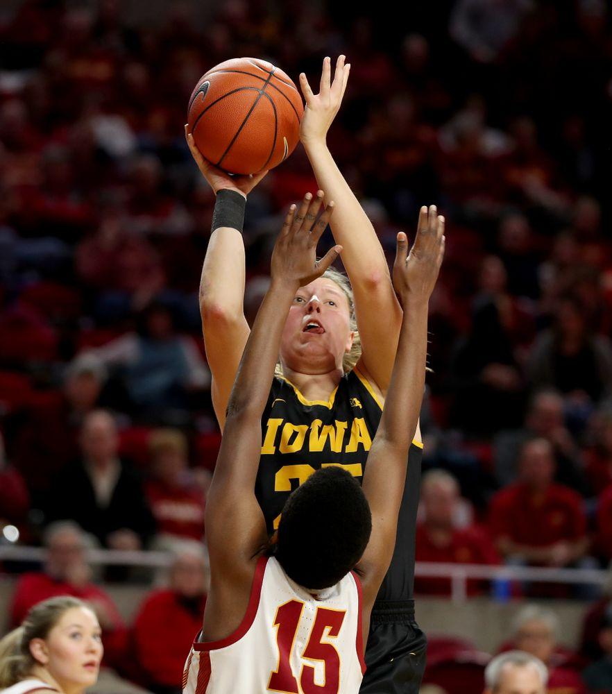 Iowa Hawkeyes forward/center Monika Czinano (25) against the Iowa State Cyclones Wednesday, December 11, 2019 at Hilton Coliseum in Ames, Iowa(Brian Ray/hawkeyesports.com)