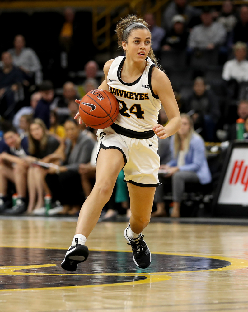 Iowa Hawkeyes guard Gabbie Marshall (24) against Penn State Saturday, February 22, 2020 at Carver-Hawkeye Arena. (Brian Ray/hawkeyesports.com)