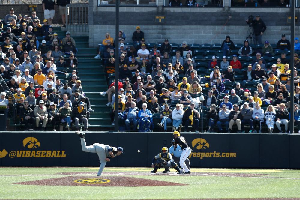 Iowa Hawkeyes infielder Tanner Wetrich (16) against Michigan Saturday, April 28, 2018 at Duane Banks Field (Brian Ray/hawkeyesports.com)