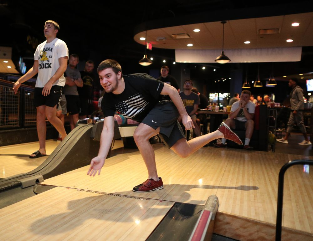 Iowa Hawkeyes place kicker Keith Duncan (1) during the Players' Night at Splitsville Friday, December 28, 2018 in the Sparkman Wharf area of Tampa, FL.(Brian Ray/hawkeyesports.com)