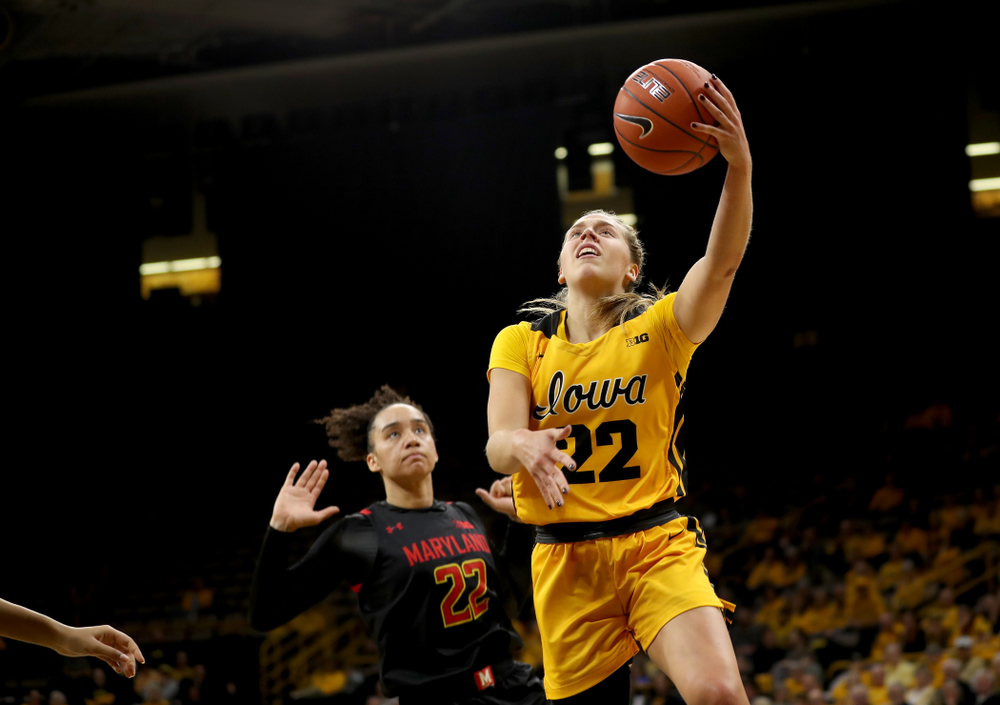 Iowa Hawkeyes guard Kathleen Doyle (22) against the Maryland Terrapins Thursday, January 9, 2020 at Carver-Hawkeye Arena. (Brian Ray/hawkeyesports.com)