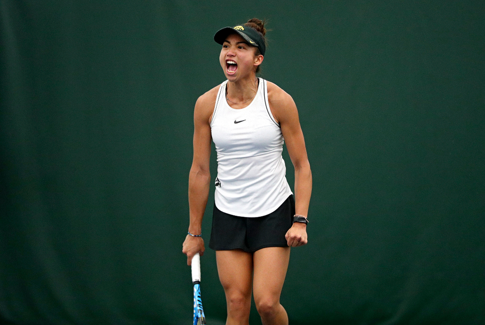 Iowa's Michelle Bacalla celebrates a point during her singles match at the Hawkeye Tennis and Recreation Complex in Iowa City on Sunday, February 16, 2020. (Stephen Mally/hawkeyesports.com)