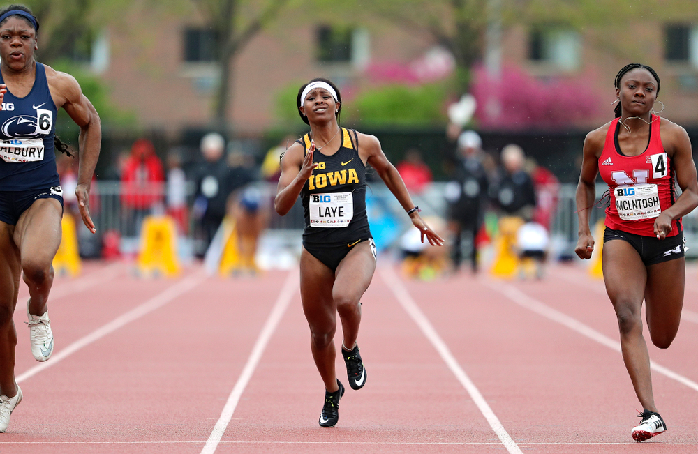 Iowa's Jada Laye runs the women's 100 meter dash event on the second day of the Big Ten Outdoor Track and Field Championships at Francis X. Cretzmeyer Track in Iowa City on Saturday, May. 11, 2019. (Stephen Mally/hawkeyesports.com)