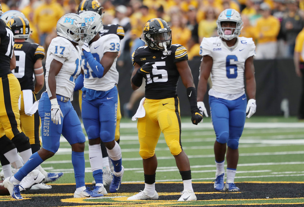 Iowa Hawkeyes running back Tyler Goodson (15) reacts after picking up a first down against Middle Tennessee State Saturday, September 28, 2019 at Kinnick Stadium. (Brian Ray/hawkeyesports.com)