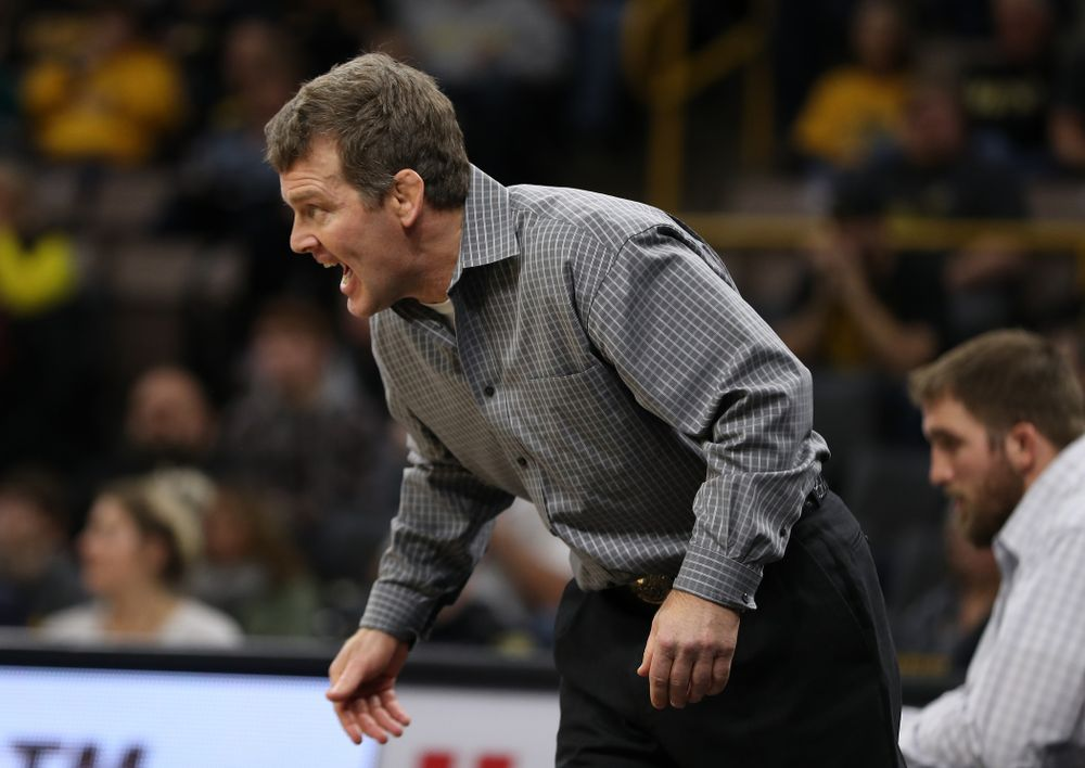 Head Coach Tom Brands as Iowa's Mitch Bowman wrestles Purdue's Christian Brunner at 197 pounds Saturday, November 24, 2018 at Carver-Hawkeye Arena. (Brian Ray/hawkeyesports.com)