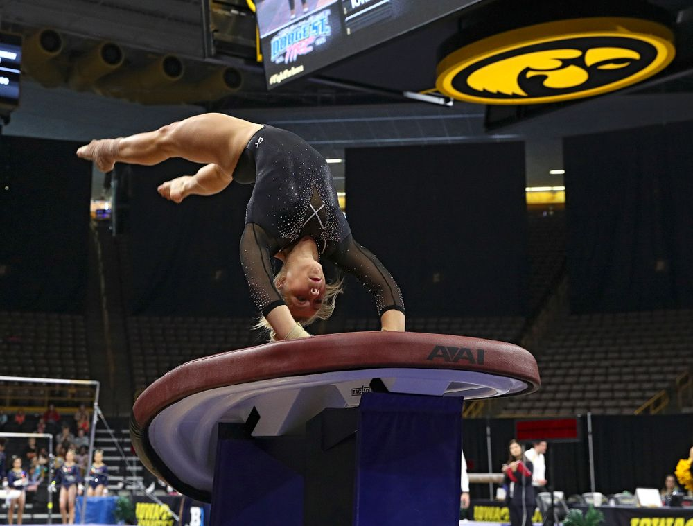Iowa's Madelyn Solomon competes on the vault during their meet at Carver-Hawkeye Arena in Iowa City on Sunday, March 8, 2020. (Stephen Mally/hawkeyesports.com)
