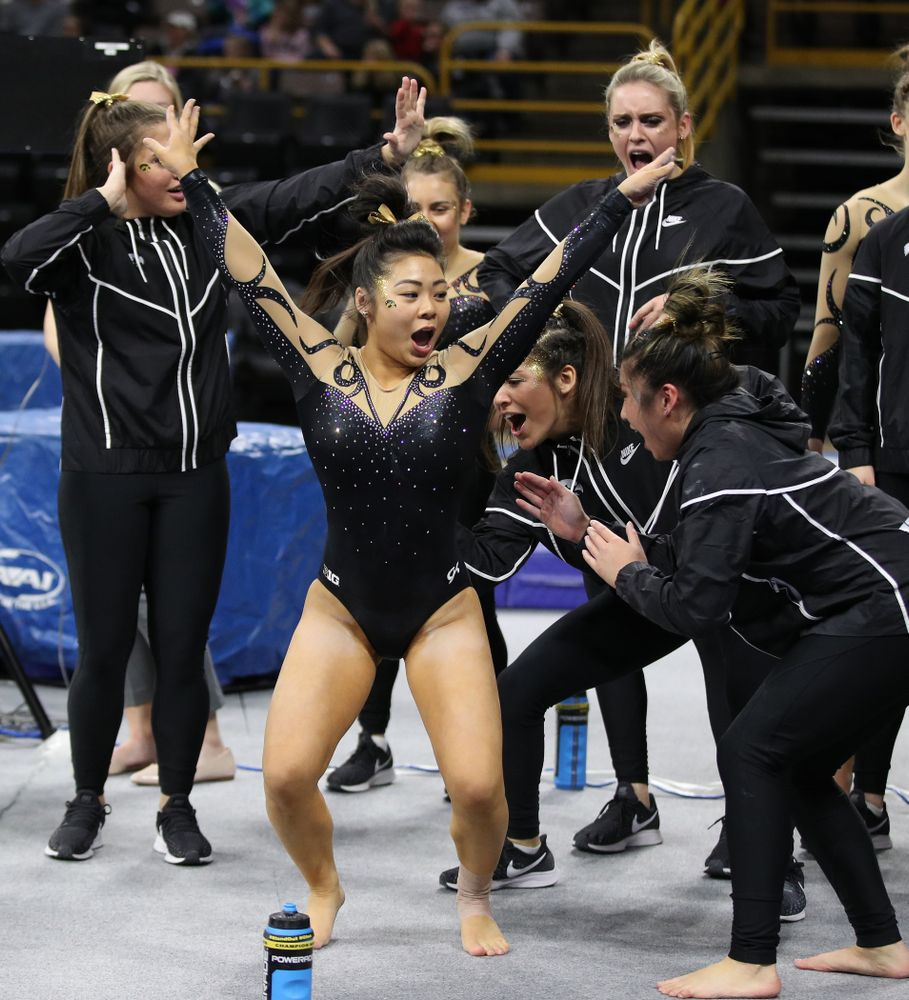 Iowa's Clair Kaji dances with her teammates during their meet against Southeast Missouri State Friday, January 11, 2019 at Carver-Hawkeye Arena. (Brian Ray/hawkeyesports.com)